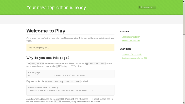 Play Framework Default Page